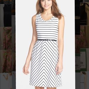 Marc New York Belted Stripe Fit & Flare Dress